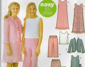Simplicity 5646 Girls Dress or Top,Capri Pants,Skirt and Jacket Size 8 1/2-16 1/2 Uncut Pattern