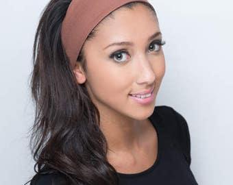 Brown Headband, Brown Head Band, Fabric Headband, Fabric Head Band, Cotton Headband, Cotton Head Band, Solid Brown Headband, Wide Hairband