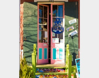 Colorful Storefront, The Social Chair, Bay St. Louis, Pink Green Aqua Art, Quirky Wall Art, Bright Colors Art, Architecture Photo, Rainbow