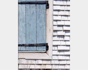 Cape Cod Shutters, Cape Cod Minimalism, Gray Shutters Photo, Blue Gray Lines, Architecture Detail, Falmouth House Art, Blue Gray Modern Art