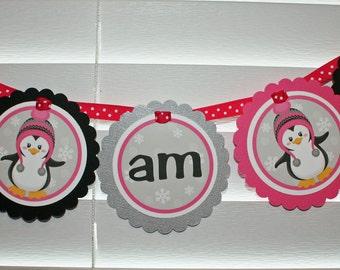 PENGUIN High Chair Banner / Girl Penguin High Chair Banner / Penguin I Am One banner /  high chair banner / Penguin 1st Birthday Party