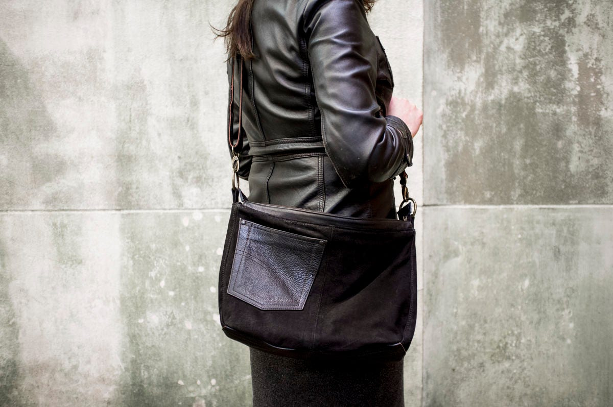 Hobo Purse made from Black Leather Biker Pants