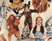 WIZARD OF OZ - Fabric, Yardage, by the half or full yard , Dorothy, Lion, Tinman, Scarecrow,  print cotton, white background, Out of Print
