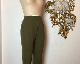 Fall sale 1950s pants olive green pants cigarette pants size small lady r rough rider pants 25 waist rockabilly pants