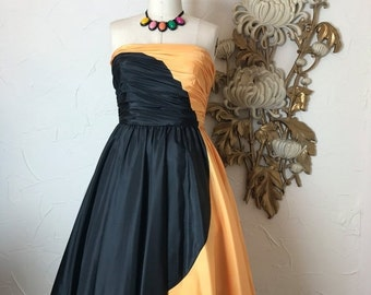 1980s dress strapless dress black and yellow size medium vintage dress party dress Frank Usher dress