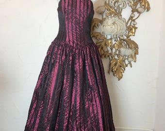 1950s gown party dress strapless dress striped dress vintage dress size medium formal gown full skirt 27 waist