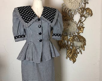 1980s dress peplum dress black and white size medium vintage dress 28 waist puff sleeves sailor collar