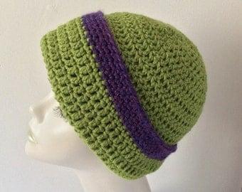 Crochet Green/Navy coloured Slouchie/Beanie wool hat