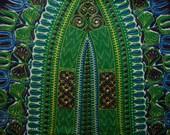 DASHIKI African fabric indigo navy and green