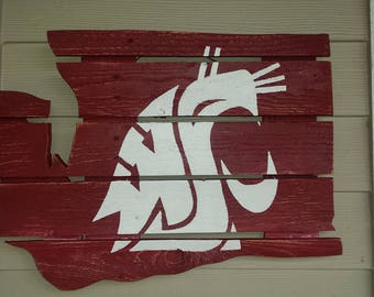 WSU Cougar - Washington State University Reclaimed Wood Sign - Handmade