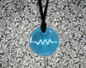 Sky Blue Glass Resistance Pendant,Resistor Pendant, Sky Blue Pendant, Sky Blue Necklace, Resist Symbol, Cyan