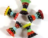 Lampwork beads, Lampwork beads set, ethnic dresses,  winter night (5) SRA