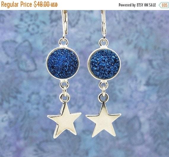 druzy earrings, star druzy earrings, blue druzy earrings, silver star earrings, celestial earrings, astrology gift, astronomy gift, navy