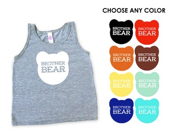Brother Bear Kids Toddler TriBlend Heather Grey Tank Top - Family Photos, Sibling Tee, Expecting, New Baby, Baby Shower, Big Little Brother