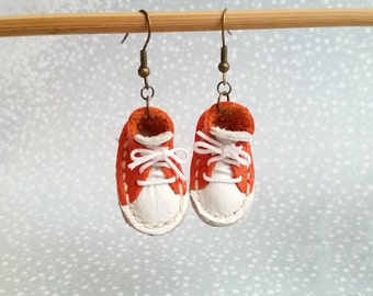 Lace Up Shoes Sneakers Hook Earrings Mini Orange And White Leather Sneaker Shoes For Runners
