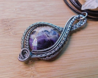 Chevron Amethyst Pendant Bead Wire Wrapped in Oxidized Sterling Silver Pendant Wire Wrapped Jewelry Handmade Crystal Healing Boho Scifi