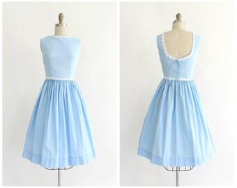 vintage 1950s Helen Whiting baby blue scoop back sundress | vtg 50s light blue dress | x-small