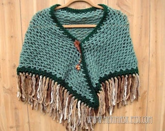 Green Oak Crochet Shawl... knit crocheted fringed yarn leather leaf tie bohemian boho
