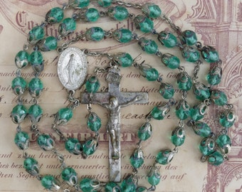 Vintage Rosary Chain Glass Beads Filigree Metal Bead Caps