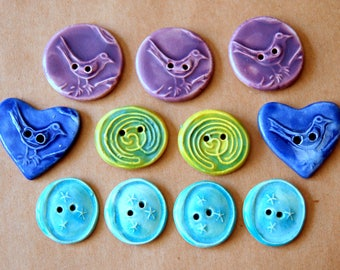 11 Handmade Ceramic Buttons - Sweet Selection of Spring Designs and Colors -  Sale :) - Blue Bird hearts and small aqua moon buttons