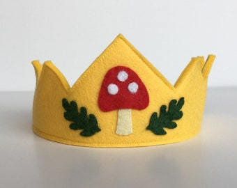Wool Felt Crown-  100% merino wool Forest Child crown with mushroom and oak leaves