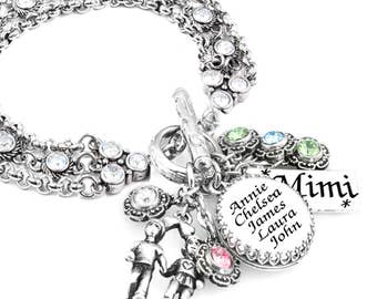 Mother's Charm Bracelet - Mother's Quote Jewelry - Personalize - Childrens Birthstones
