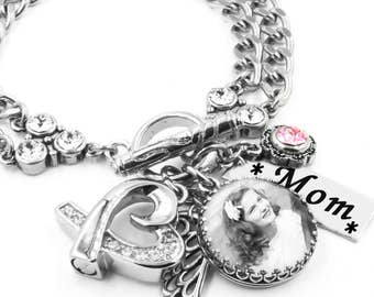 Memorial Bracelet - Cremation Bracelet - Personalized Photo Jewelry - Heart Urn Charm - Remembrance Jewelry