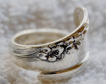 Sterling Spoon Ring, Spring Lily, Size 8 to 11