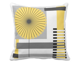 Flower Square Pillow in 16x16 or 20x20 - Polyester or Cotton w/ Free US Shipping in Red Yellow Orange Blue
