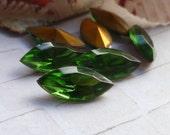 Vintage Czech 15x7mm Tourmaline Green Glass Navette Jewels (52-10F-12)