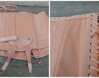 Vintage 1950/50s French salmon pink sateen & elastic fabric girdle lingerie corset medical