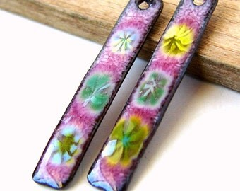 RESERVED FOR JANICE - Raspberry Millefiori Enamel Copper Matchstick Earring Dangles