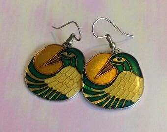Vintage Bird Enamel  Earrings