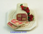 Reserved* 12th scale handmade miniature Battenberg *RESERVED for Minteriors