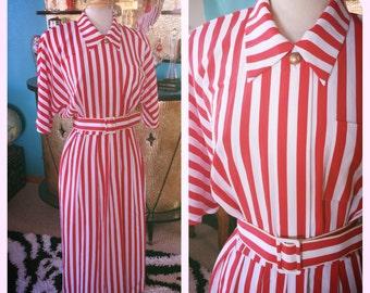 Vintage 1940s style Dress red white stripe L XL Swing Rockabilly 40s 1930s 30s
