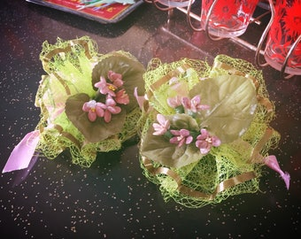 Vintage 1930s Corsage Lot violet floral green purple 1940s pin fascinator 30s 40s swing rockabilly formal