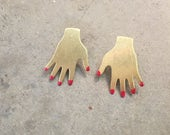 Brass Hand Studs - Plain Brass Hands or with Red Nails