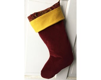 Red Velvet Christmas Stocking Gold Wool Cuff - Heirloom Holiday Decor