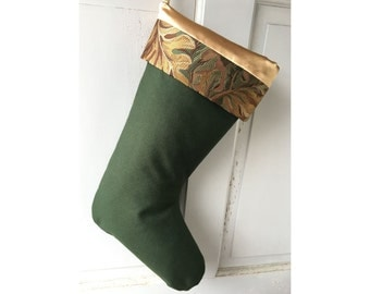 Rustic Green Wool Christmas Stocking - Modern Leaves Holiday Decor Ready to Ship