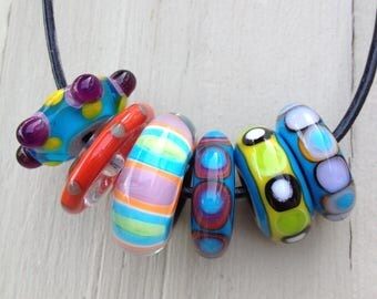 Set of Disk Shaped Orphan Lampwork Beads Artisan Handmade Glass Beads For Jewelry Design