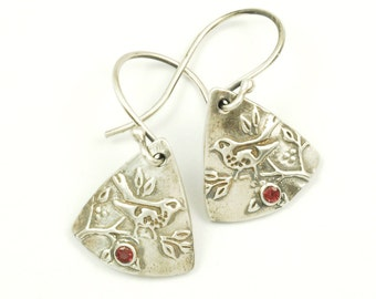 Garnet Wren Earrings - Sterling Silver and Natural Garnet Birthstone Bird Earrings, Wren Jewelry (other stones available)