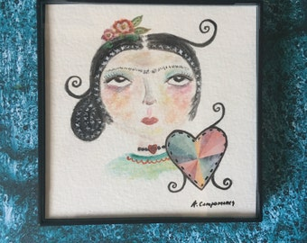 Framed Frida Mixed Media Art