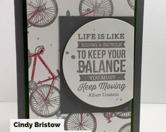 Bike Card, Bike card for guy, Bike card blank, Encouragement card for guy, Red Bike card