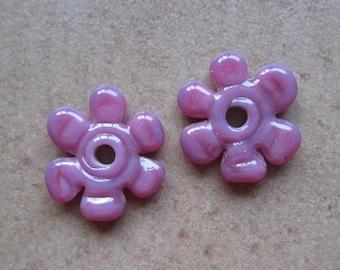 Lampwork Beads - SueBeads - Disc Beads - Disc Flowers - Mulberry Cut Disc Flower Bead Pair - Handmade Lampwork Beads - SRA M67