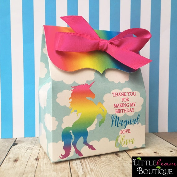 Personalized Party Favor Boxes Birthday : Rainbow unicorn favors birthday party personalized favor