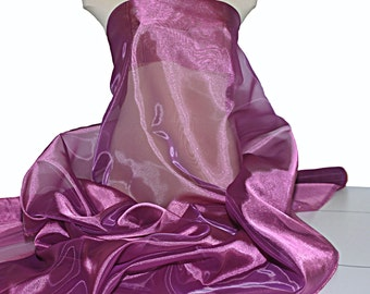 "Iridescent Organza fabric 60"" wide.. sheer, Magenta . formal wear, bridal, pageant, crafts, costumes, home decor"
