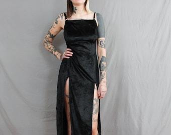 1990's DOUBLE SLIT velvet dress in Medium / black velvet / crushed velvet / spaghetti straps / sexy / date night / small / Cling / 90s