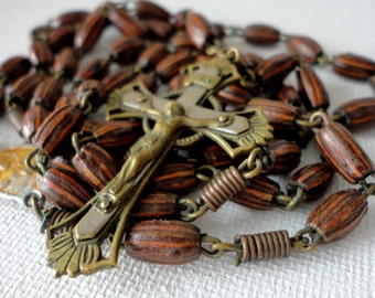 Vintage Black & Brown Striped Seed Bead Rosary Brass Silver Cross Coiled Wire Chaplet Prayer Crucifix Rosary Necklace Religious Repurpose
