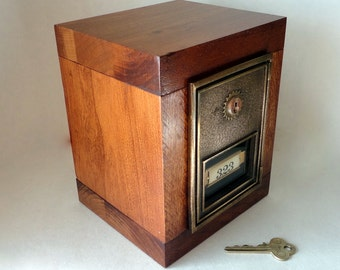 Red Maple Safe with Bronze Brass CORBIN Post Office Box Door Bank Keyed Lockbox 8th 5th Anniversary Groomsman Wedding Retirement Combination