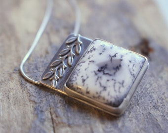 Dendrite Opal Sterling Silver Reversible Necklace